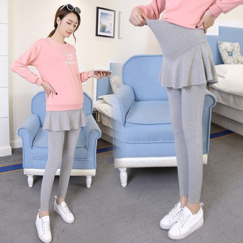 ? Two pieces of pure cotton pregnant womens bottomed pants and skirts