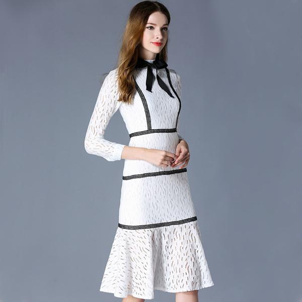 实拍2018新款女装韩版中长款连衣裙包臀蕾丝修身显瘦鱼尾打底裙