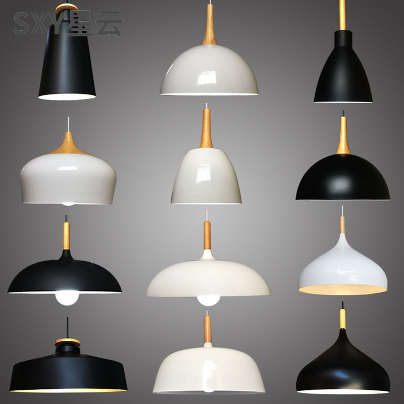 单个简单餐厅灯现代简约饭厅家用北欧简易吊灯灯罩外壳日式灯