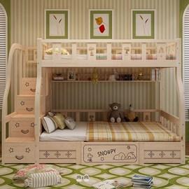 多功能箱体抽屉双层床书桌梯柜床实木子母床上下铺带高低儿童滑梯图片