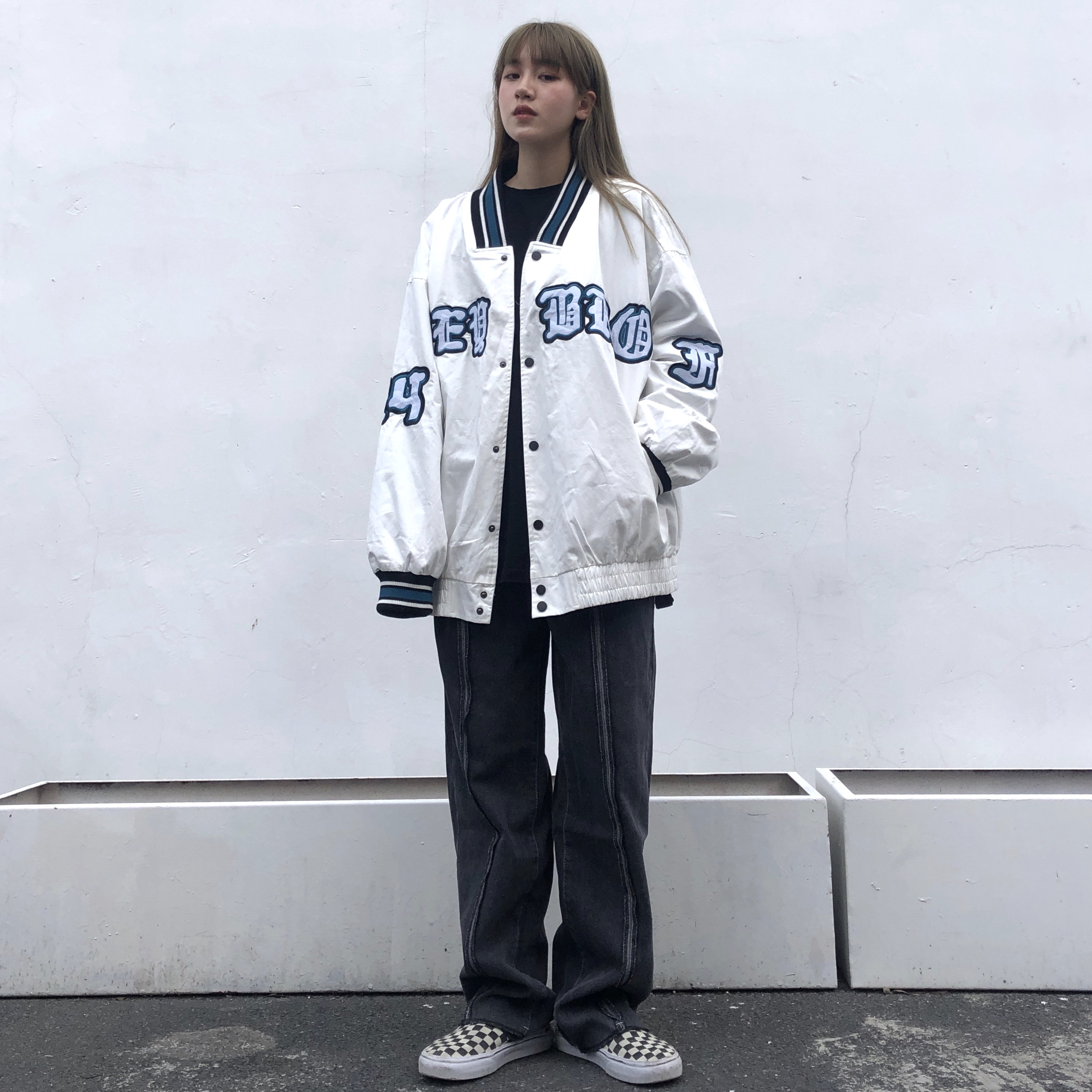 Chuan Chuan Ye Embroidered baseball uniform men and women American retro jacket spring and autumn oversize thin sports jacket tide
