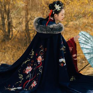 子爵秋色哪吒鬧漢服男女加長款斗篷日常中國風非古裝重工繡花披風