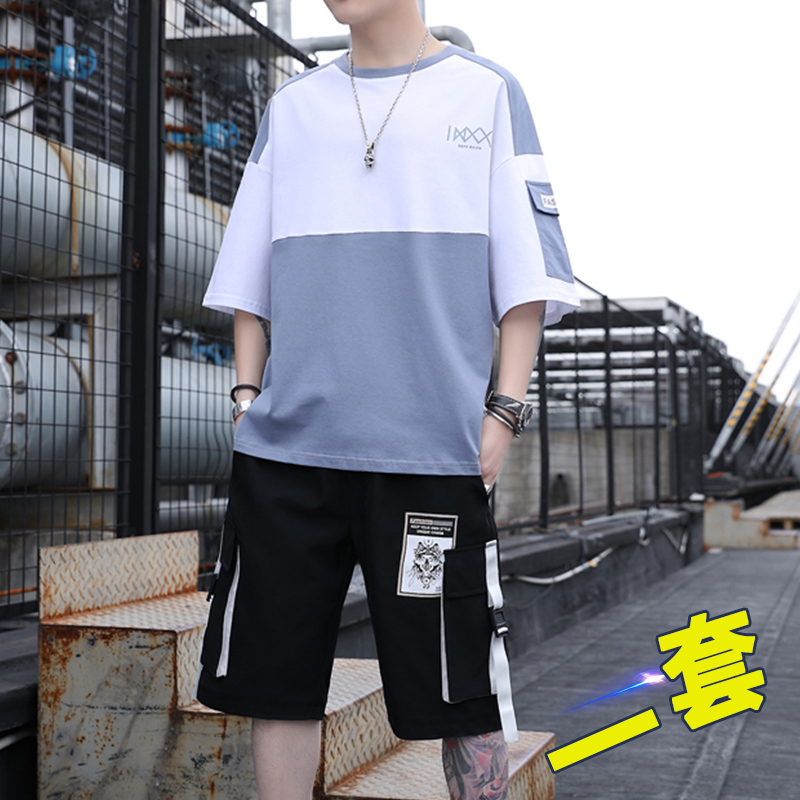 High school and junior high school students short-sleeved t-shirt men's trend suit youth summer boy big boy handsome clothes summer clothes