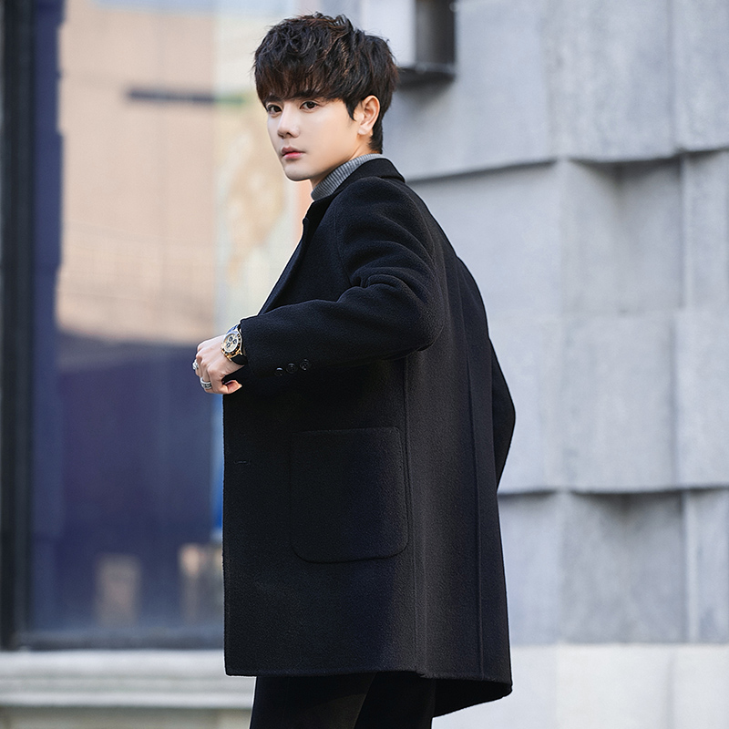 Autumn and winter men's double-sided cashmere coat mid-length Korean youth thickened Nizi windbreaker woolen woolen coat