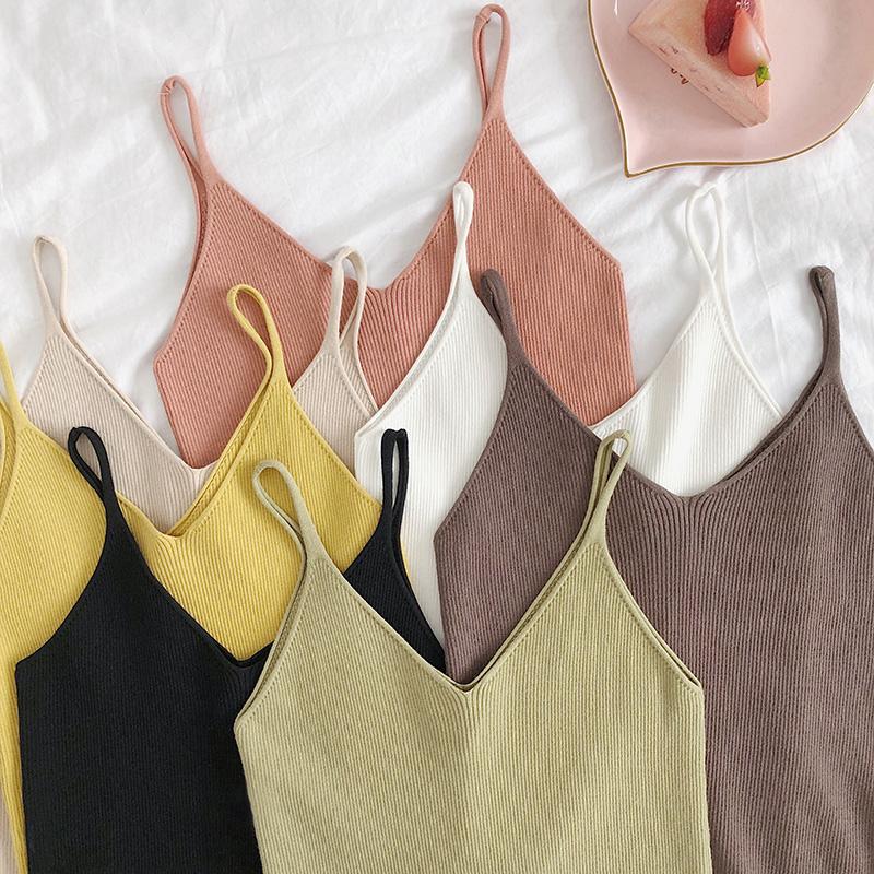 2019春夏新款v领针织吊带小背心修身性感无袖内搭打底上衣女外穿