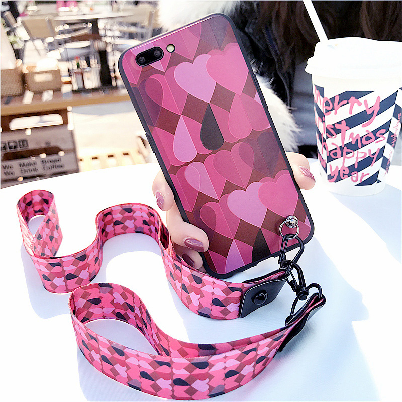 日韩少女款爱心OPPO R11S手机壳软胶保护套R11plus送带挂绳硅胶套