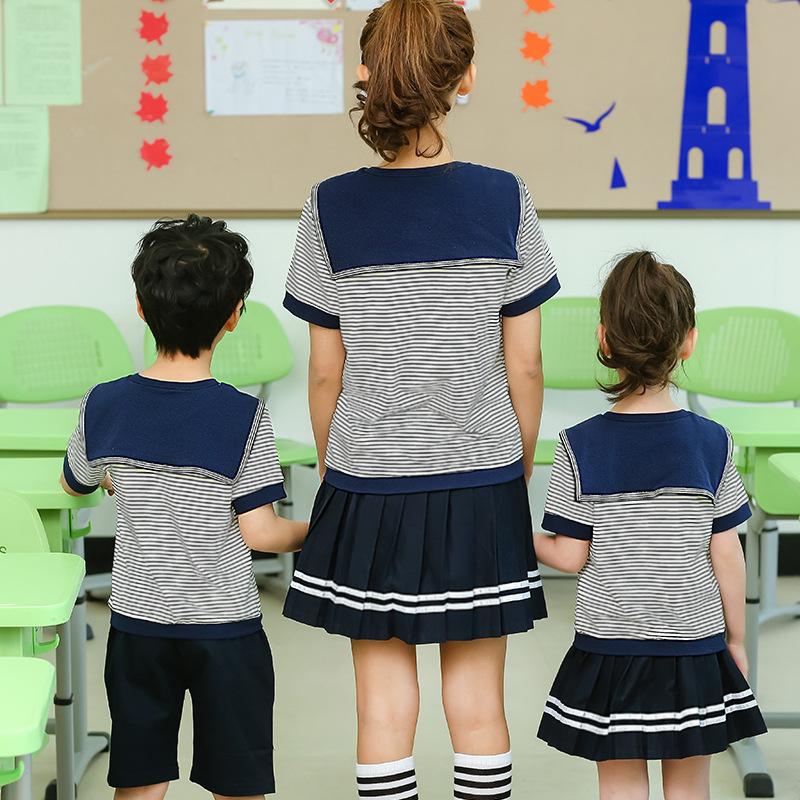 幼��@�@服夏季套�b2017新款�棉英���L男童水手海�制服�和�校服