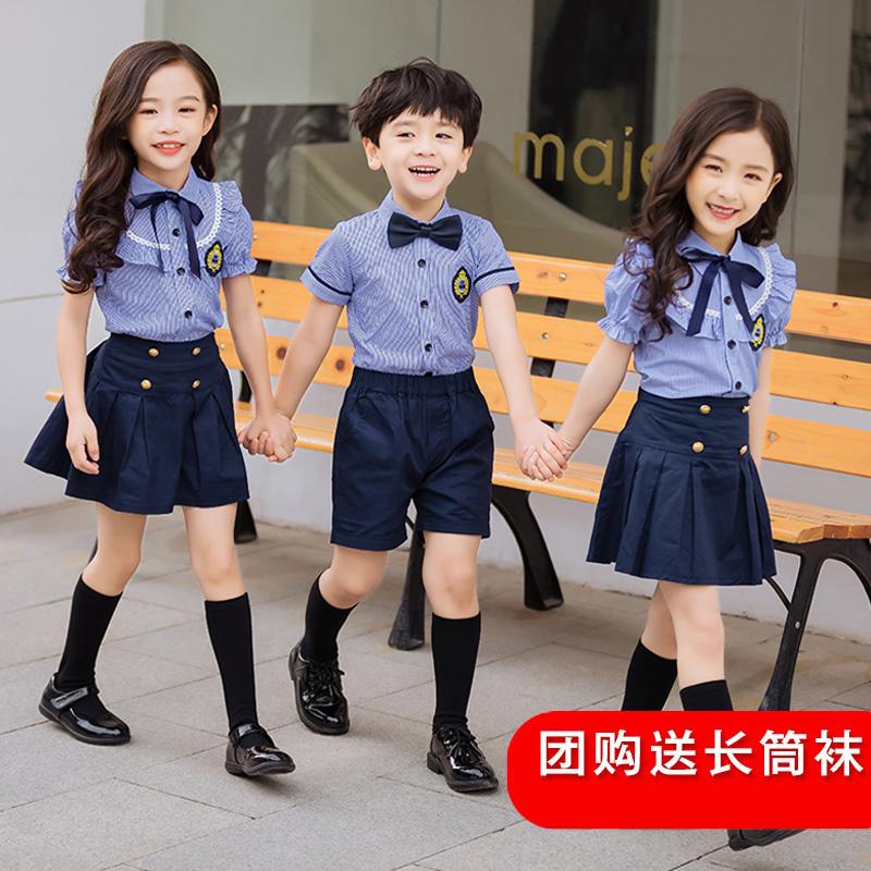 幼儿园园服夏装学院英伦风毕业照夏装短袖小学生班服儿童校服套装