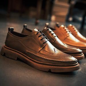 布洛克雕花皮鞋男士英伦风百搭真皮潮鞋韩版休闲潮流鞋子软底男鞋