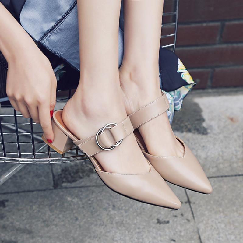 复古时尚真皮尖头穆勒鞋