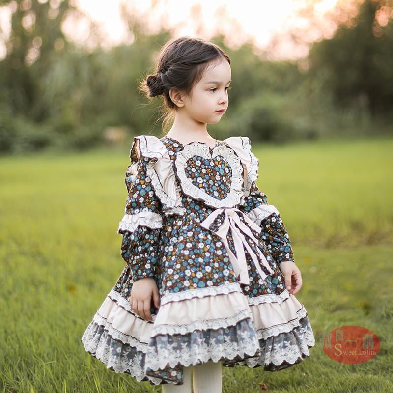 婴幼儿舞蹈春秋冬新款洛丽塔Lolita西班牙公主宫廷风碎花连衣裙子