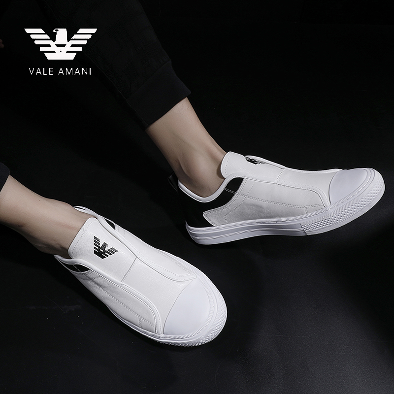 华伦阿玛尼男鞋休闲鞋夏季真皮透气小白鞋一脚蹬乐福鞋男士板鞋潮图片