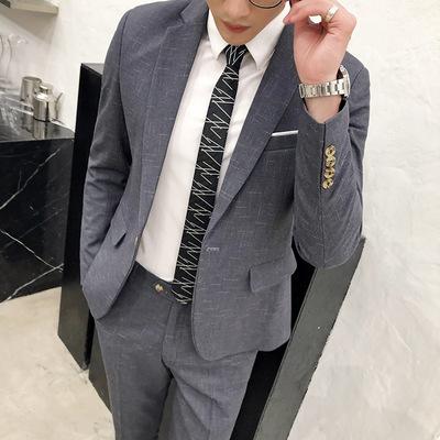 【厂家直销、长期大货】英伦风斜纹西服套装男休闲风 8001P175