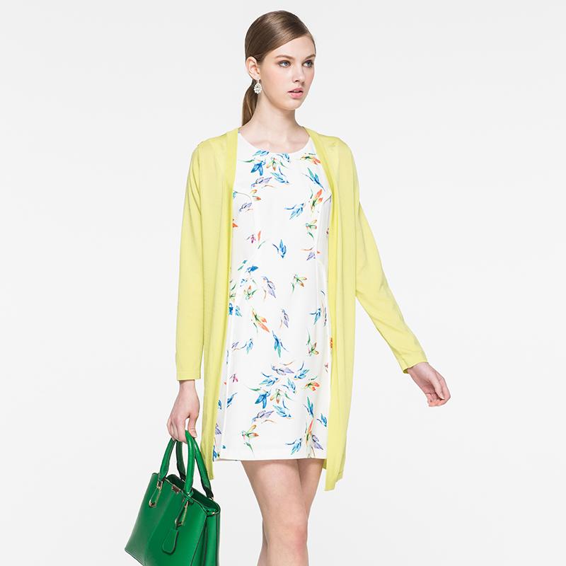 白翎风采开衫风琴褶春夏中长款黄色休闲长袖外搭春夏款