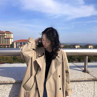 SCLB 卡其色风衣女中长款韩版2019新款秋冬气质宽松显瘦外套上衣图片