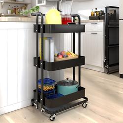 折叠小推车厨房置物架落地多层可移动储物卧室浴室婴儿用品收纳架