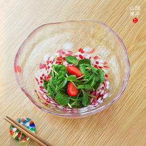 日本进口津轻彩色水晶玻璃碗手工家用餐具创意彩色果盘蔬菜沙拉盘