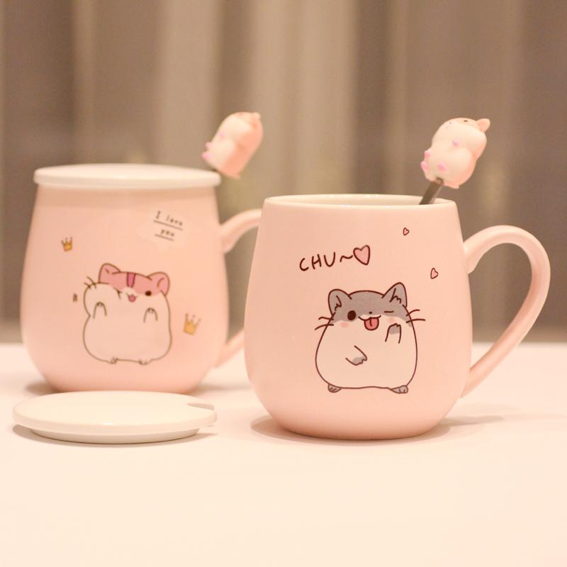 杯子创意个性潮流陶瓷杯马克杯带盖勺可爱超萌少女家用咖啡喝水杯