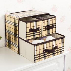 两层三抽屉式收纳盒防水内衣收纳抽屉无纺布折叠储物盒桌面杂物盒