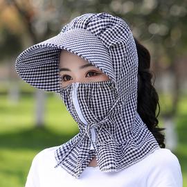 帽子遮阳帽女士防晒紫外线大沿骑车护脸户外可折叠夏季妈妈太阳帽