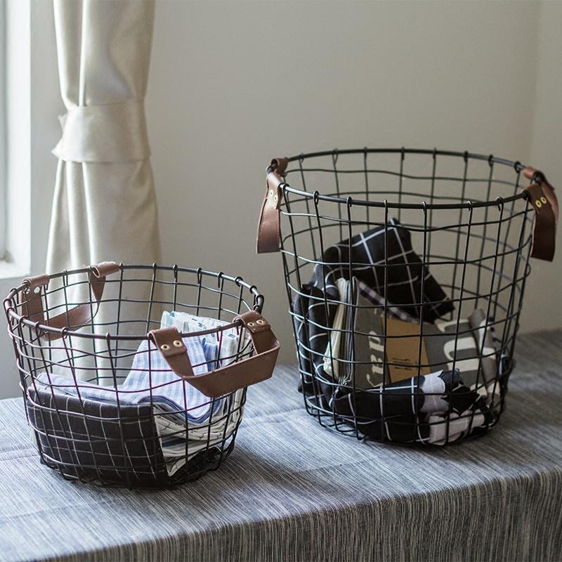 脏衣服铁艺复古脏衣玩具桶洗衣篮子