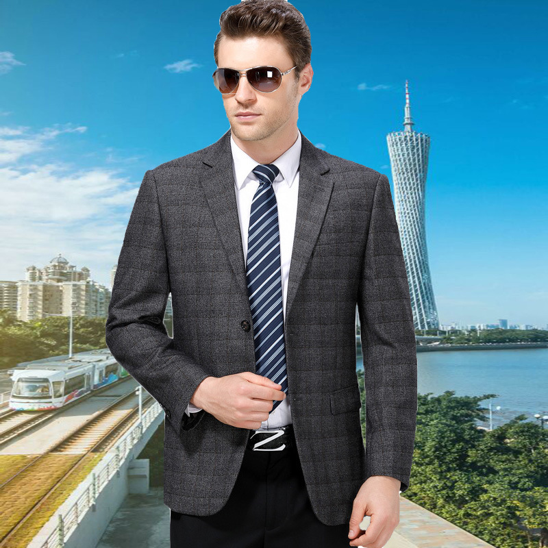 Crazy counter business middle-aged suit coat spring and autumn brand leisure single suit Plaid Wool dad routine