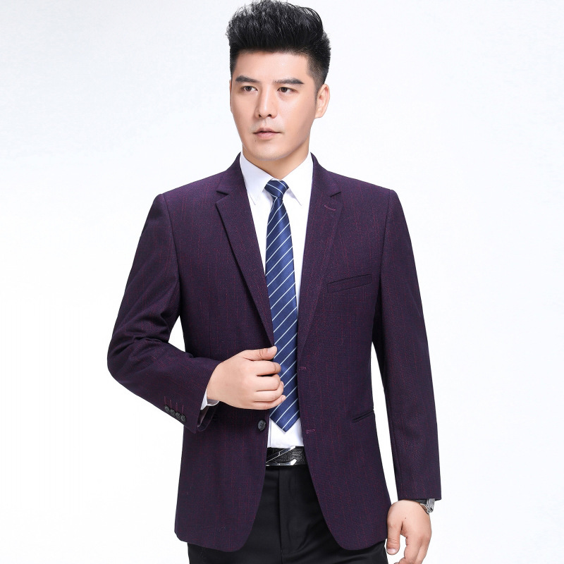 Autumn and winter mens suit fashion business middle aged wool single suit boutique striped coat youth fashion