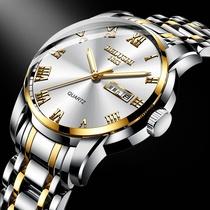 手表男双日历夜光潮流防水中学生手表男士机械表男石英表国产腕表