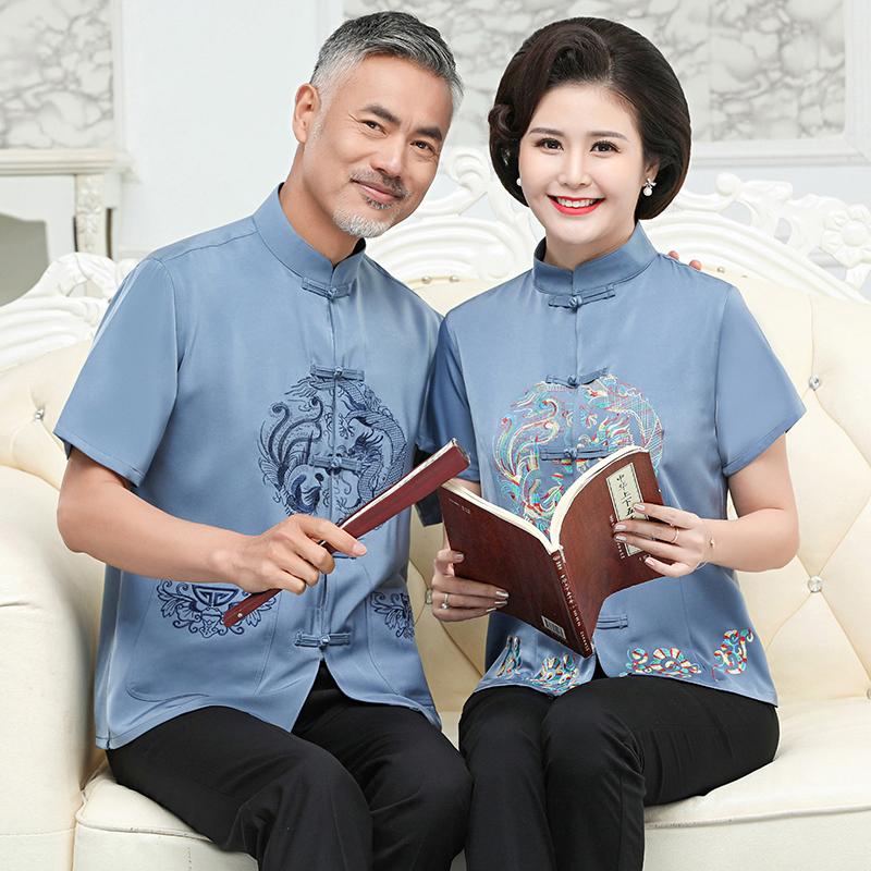 老人生日唐装男短袖套装中国风爸爸妈妈过寿金婚爷爷奶奶情侣夏装