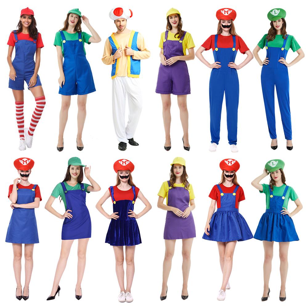 万圣节女角色扮演服装cos超级玛丽衣服管道大叔马里奥碧琪公主裙