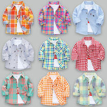 男童长袖衬衫2020新款夏季薄款儿童春秋宝宝纯棉上衣小童格子衬衣