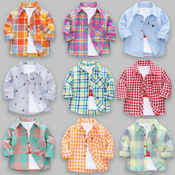 薄款 衬衫 夏季 款 2020新 儿童春秋宝宝纯棉上衣小童格子衬衣 男童长袖