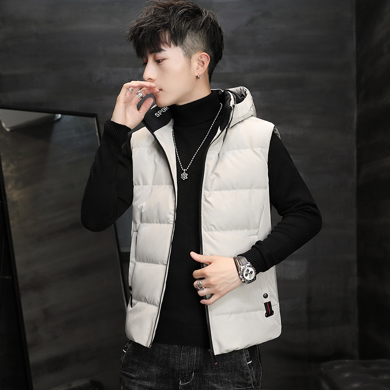 Down vest men's hooded sleeveless vest in autumn and winter