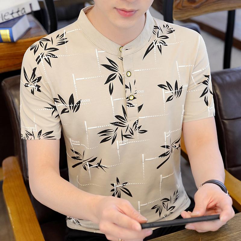 纯棉男士短袖t恤夏季新款韩版立领polo衫潮流休闲青年印花上衣ins