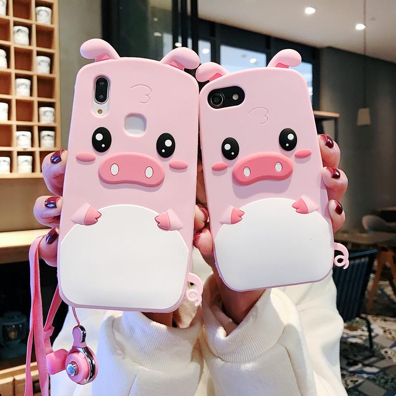 网红猪iphone11 pro手机壳苹果8plus手机套苹果X卡通6s硅胶7plus防摔苹果4s max立体i5可爱少女xr全包边软壳