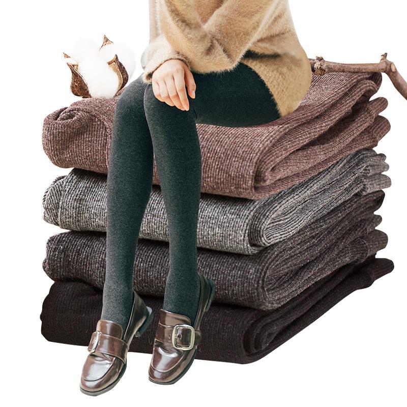 打底裤袜女春秋冬款中厚条纹丝袜秋季外穿棉裤加绒加厚连裤袜灰色