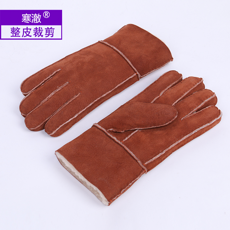 All in one gloves for mens winter thickened wool whole leather cut cycling skiing gloves wool gloves