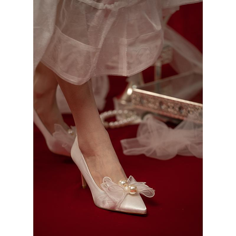 【椿】timeless /原创珍珠蝴蝶结细跟高跟鞋仙女风白色婚鞋宴会鞋