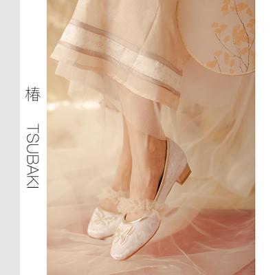 【椿】蝶 衣/原创中国风蝴蝶网纱方头粗跟单鞋复古仙女风温柔鞋