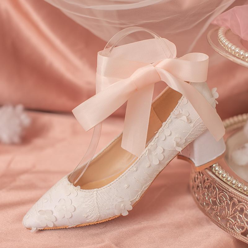 【椿】羽 花/蕾丝刺绣一字带绑带两穿尖头粗跟单鞋仙女风婚鞋伴娘