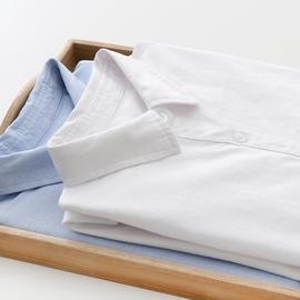 2020春新款日系纯棉牛津纺白色衬衫女长袖小清新学生休闲打底衬衣