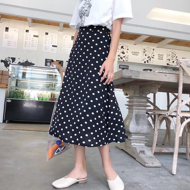 波点点雪纺半身裙女夏韩版显瘦中长款复古包臀小清新裙高腰鱼尾裙