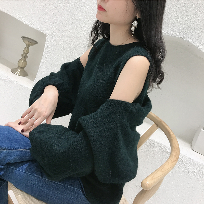 [no return for special price] net red same style off shoulder sweater for women sexy fashionable knitted vest with two pieces