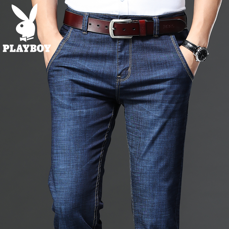 Playboy autumn jeans men's loose straight pants summer thin men's pants summer casual men's pants