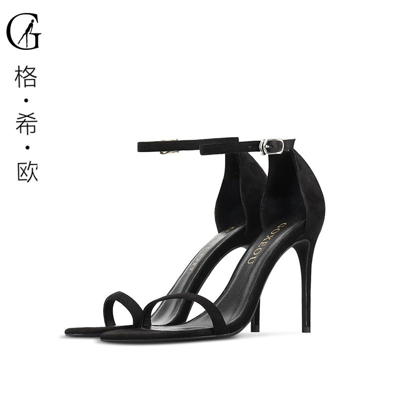 GOXEOU/格希欧大小码夏季新款圆头细跟一字带绒面黑色帮带凉鞋女