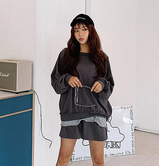 三0517韩国官网简约休闲纯色女裤套装 Lylon-ds206211区