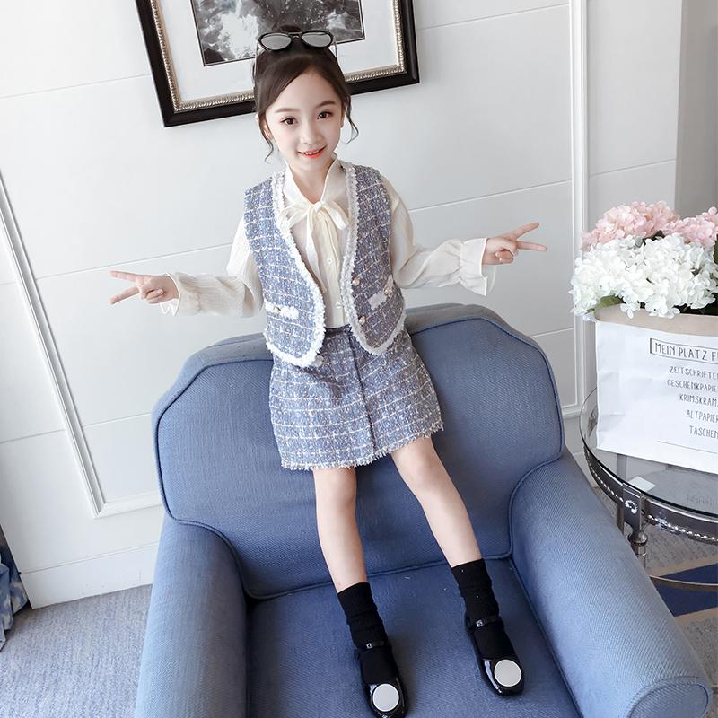 (用70元券)女童小香风2019新款儿童马甲套装裙