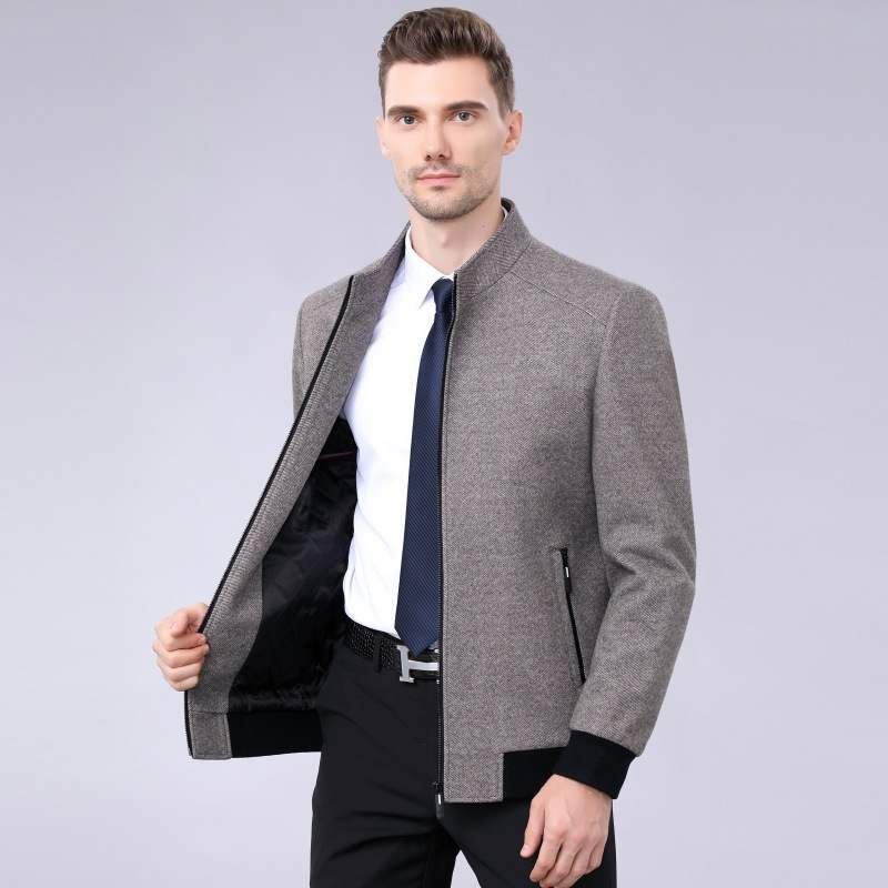 2021 jacket mens middle-aged warm wool coat autumn winter cotton business dads stand collar coat wool coat
