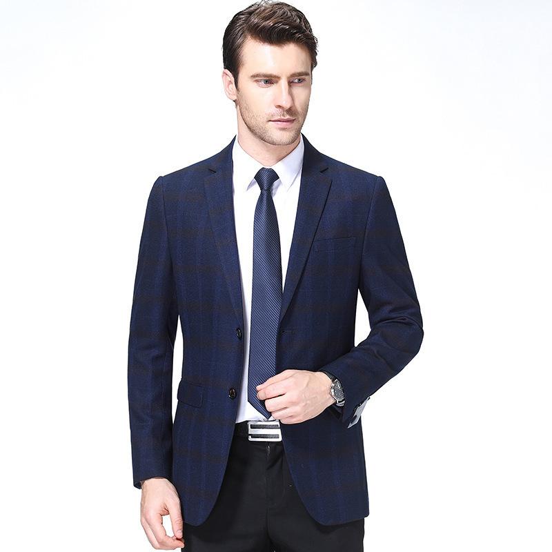 秋冬男士西服时尚休闲羊毛单西装精品格子外套一件代发一粒双排扣