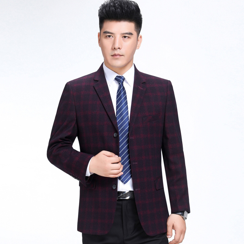 Crazy for autumn and winter clothes mens suit fashion leisure middle aged wool single suit boutique plaid coat Long Sleeve